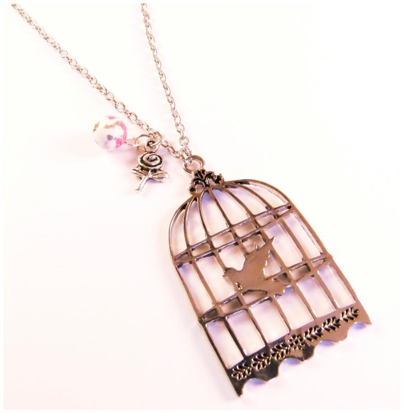 Pendant bird cage, silver pendant and silver chain  long necklace