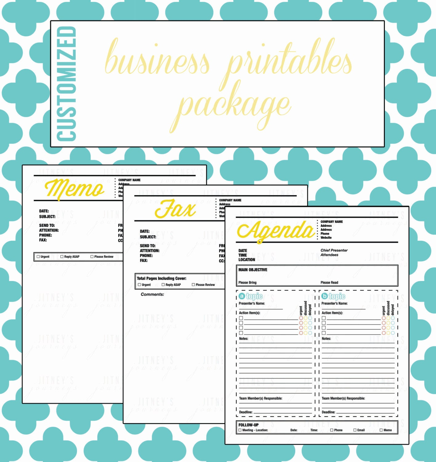 Lovely Etsy Shop : Business Printables Package {Customized} Inside Free Business Printables