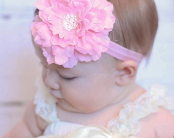 Baby Headband, Infant Headband. Toddler Headband, Girls Headband - Light Pink Peony Headband
