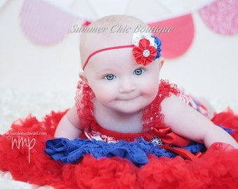 Fourth of July Baby Headband, Infant Headband, Newborn Headband, Shabby Headband, Red, White, and Blue Headband Satin cluster