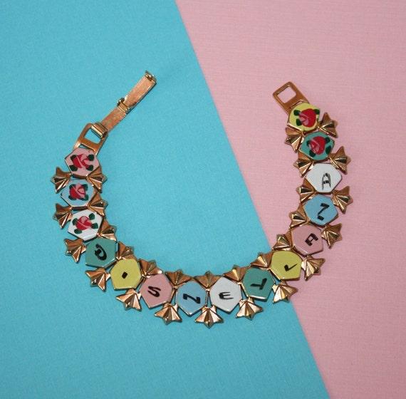 vintage disneyland collectible enamel bracelet roses early