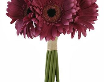 Mulberry Wine Daisy Bouquet - Bridal Wedding Bouquet