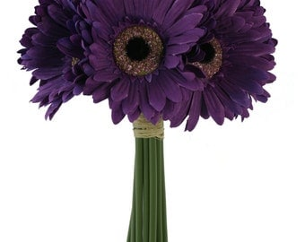 Purple Daisy Bouquet - Bridal Wedding Bouquet