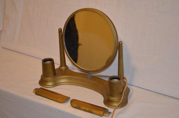 retro 1970s desktop lighted vanity mirror. Black Bedroom Furniture Sets. Home Design Ideas