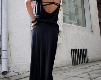 Tunic Top Backless Black Spring shirt / Loose Top  viscose top/ Tunic/ Dress A11049