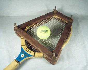 Vintage Tennis Racket Spaulding Wooden Press Frame Kro-Bat