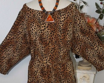Exclusive and wild, Lagenlook Missy Plus size Boatneck Off shoulde Tunic in Animal print