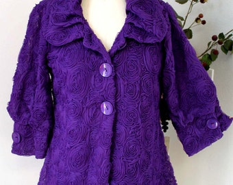 Dashing and Romantic High Fashion artsy jacket in Purple Color from size  Medium to 3XL