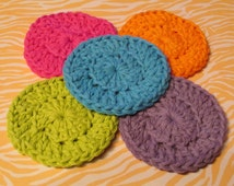 Set of 5 Eco Friendly Face Scrubbers, Cotton Washcloths, Make Up Removers, Exfoliators