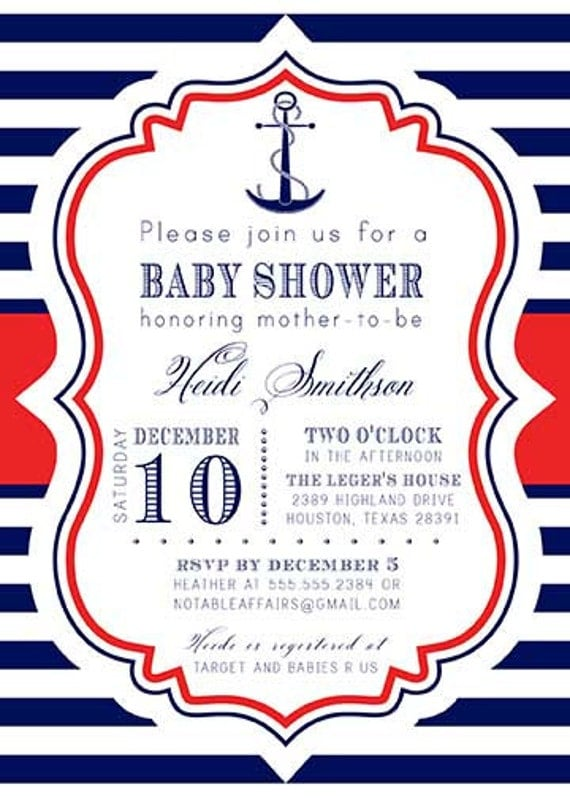 Anchor Nautical Sailing Navy Red Stripes White baby shower ...