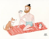 Bather with his dog companion...and fresh water to drink! - A4 - fine art print