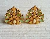 Art Deco Earrings Mint and Peach Colors Enamel Clip On Geometric Shape