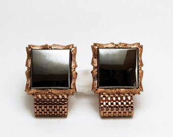 Gorgeous Hematite and Copper Color Wrap Mesh Cufflinks