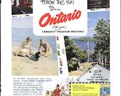 Ontario Canada Vintage Vacation Ad  - 1950s Mid Century Travel