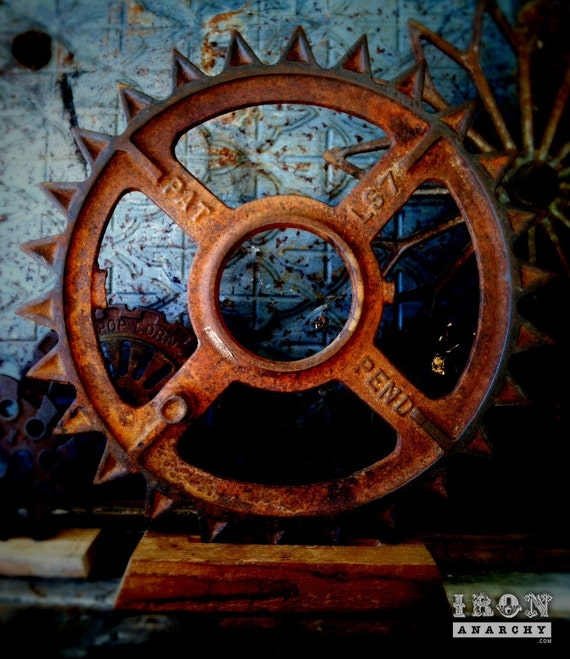 Antique Wheels And Gears : Large antique industrial gear sculpture vintage cast iron