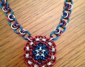 Captain America Chainmaille Necklace, Marvel Avengers Inspired