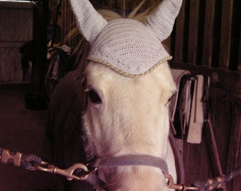 Elegant Pony Sized Fly Bonnet with Satin Cording for Your Grey Pony