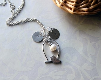 Chic Little Birdy On Swing Necklace With Fresh Water Pearl And Personalized Initials-Expressions
