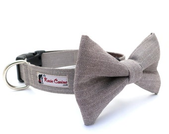 Herringbone Dog Collar (Brown Suiting Dog Collar Only - Matching Bow Tie Available Separately)