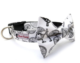Vintage Bicycle Print Dog Collar (Collar Only - Matching Dog Bow Tie Available Separately)