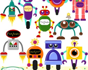 Cute Robots clip art set, 10 designs. INSTANT DOWNLOAD for Personal and commercial use.