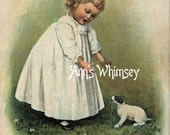"Baby Dog, Baby Girl Art, Restored Antique ART Print from 1890s - ""Come Here Baby"" #139"