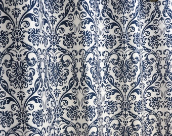 Navy Blue White Abigail Damask Curtains - Grommet - 84 96 108 or 120 Long by 24 or 50 Wide - Optional Blackout or Cotton Lining
