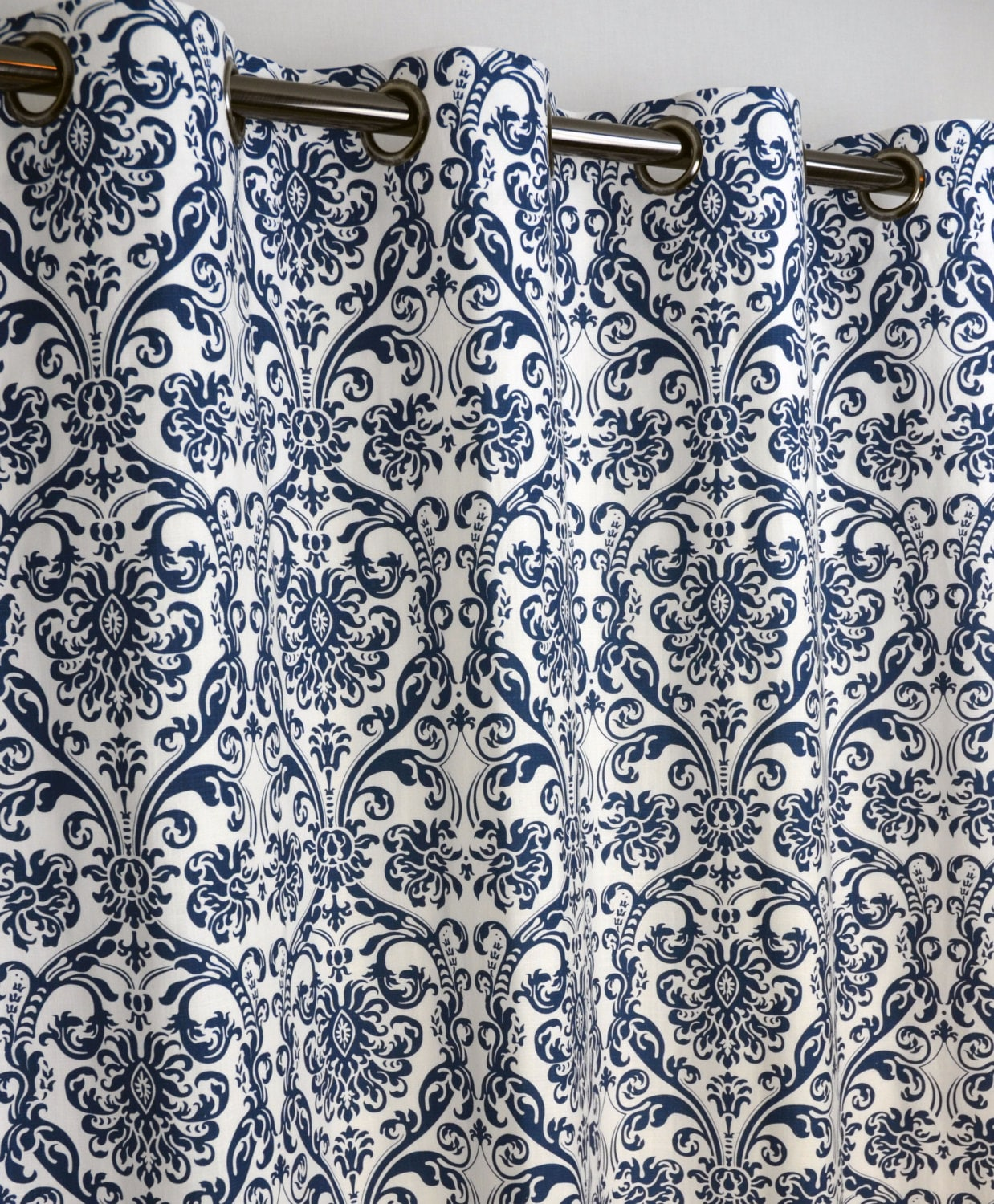 Navy Blue White Abigail Damask Curtains Grommet 84 96 108