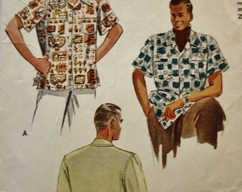 1950s Men's Classic Sports Shirt / Vintage Sewing Pattern/ McCall 7499 / Size Medium Chest 38-40