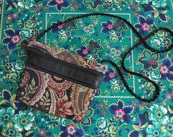 vintage 70s tapestry purse//  wallet purse bag with leather back and braided satin strap