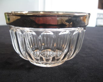 Vintage Pleated Glass Design Small Bowl With Silverplate Rim