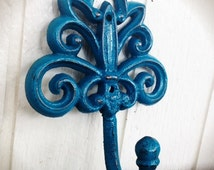 BOLD lagoon teal blue green ornate wall hook // towel coat jewelry key hooks // rustic victorian shabby chic // vintage french country