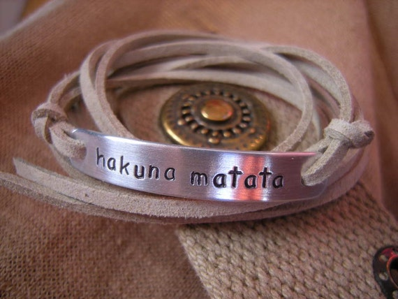Hakuna matata stamped bracelet, Wrap Faux Suede Cord Bracelet, Personalized Stamped Tag, Camel Beige suede cord, Gift for a friend