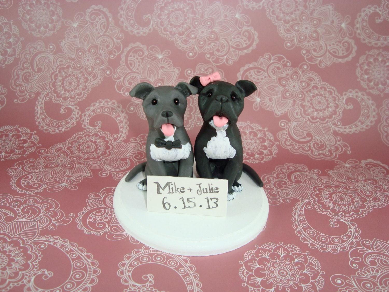custom made pitbull wedding cake topper