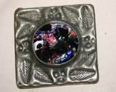 REDUCED Vintage Square Shaped Pewter Ruskin Style Arts & Crafts Brooch with Sparkly Multi-Coloured Foil Centre