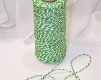 GREEN Trendy Collection Cotton Twine  - 12 Yards  Color Twisted Twine - Invitations Packages, Homemade Tags, Crafts, Shower, Party