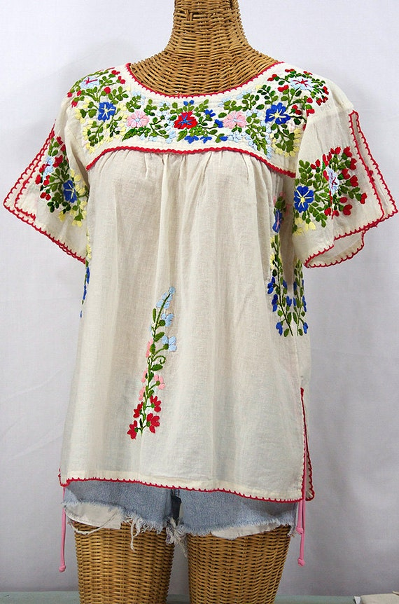 Mexican peasant top blouse hand embroidered