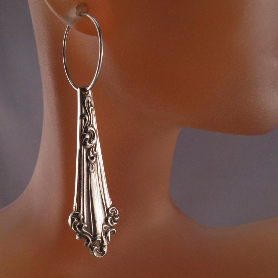 Antique spoon earrings spoon jewelry victorian sterling - Handmade gs silverware ...