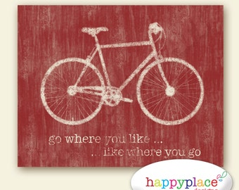 Red Bicycle Wall Art for Instant Download Poster - 8x10in or 11x14in. Other sizes and colours available. Red Bike Print, Cycling gift.