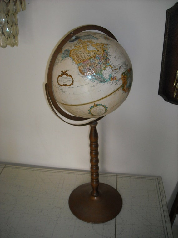 Replogle Tan World Globe On Wood Stand 12 Inch Vintage Map