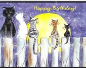 Kitty's on the Fence - cat pet moon watercolor Birthday card (item-WL4)