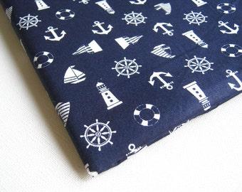 Cotton Fabric Blue Navy White Marine, ship, wheel, anchor, flag unique fabric, Marine001, Quilt 100% cotton, Table cover, Restaurant Fabric