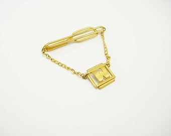 Swank Swag Chain Tie Clip Letter initial W Vintage Gold  Art Deco Wedding Business Signed Tie bar