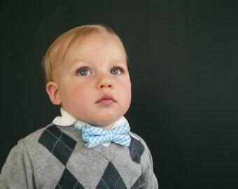 Bow Tie - Newborn, Infant, Toddler, Boy - Turquoise, Aqua Blue Gingham