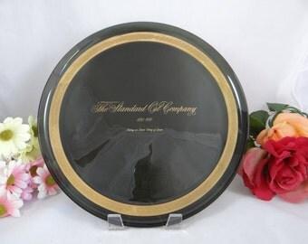 Vintage Standard Oil ESSO Centenary Smoked Glass Plate - Petroliana - Oil and Gas Memorabillia