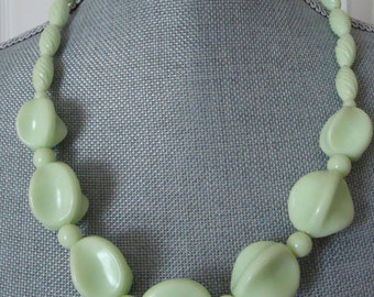 50's Chunky Key Lime Green Plastic Necklace