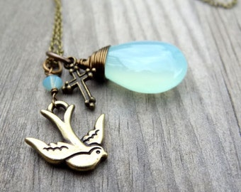 Aqua Blue Chalcedony Bronze Wire Wrap Pendant handmade Necklace with Cross Dove Bird crystal bead charm Christian Religious Jewelry