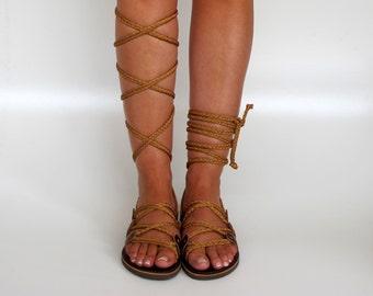 "Gladiator Sandals, Knee high sandals handmade, Unique design with braided straps Custom color ""SELENE"" SES04"