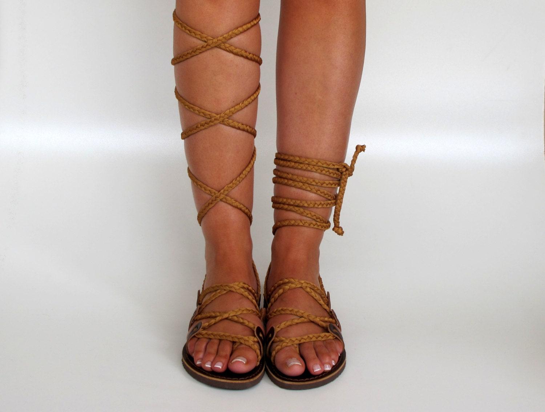 Gladiator Sandals Knee high sandals handmade by ...