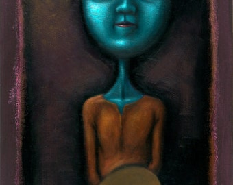Lowbrow Pop Surrealism original painting by Pete Gorski titled: Waiting For Inspiration